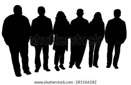 silhouettes of people, standing in line - stock vector