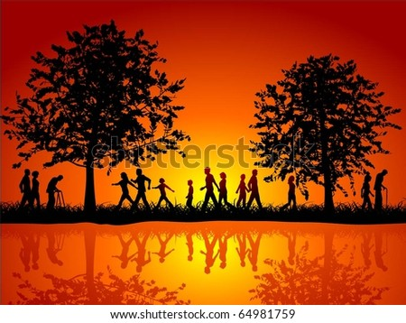 Silhouettes of people walking in the countryside - stock vector