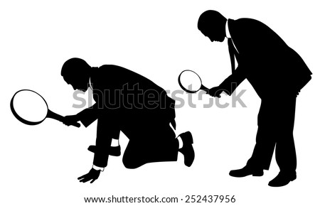 silhouettes of people with magnifying glass - stock vector