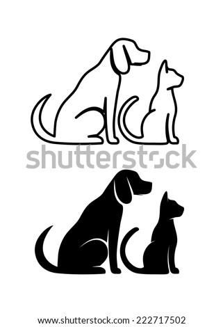 Silhouettes of pets, cat dog - stock vector