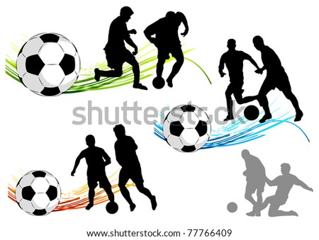 silhouettes of players with symbols - stock vector