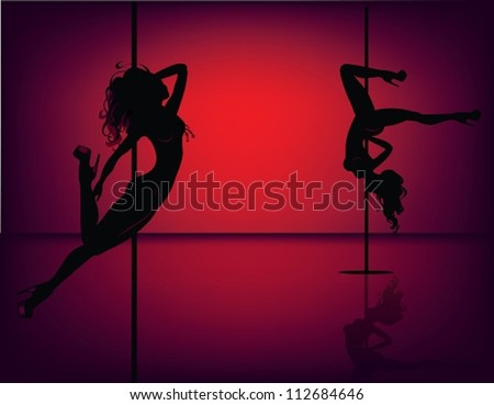 Silhouettes of pole dancers. The vector illustration of several pole dancers silhouettes. - stock vector