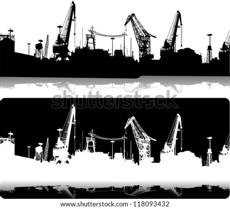 Silhouettes of port constructions - stock vector