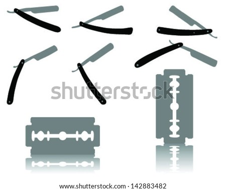Silhouettes of razors-vector