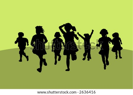 Silhouettes of running little girls. - stock vector