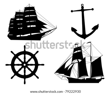 silhouettes of sailboats,  anchors  and steering wheel on a white background - stock vector