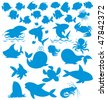 Silhouettes of sea animals - stock vector