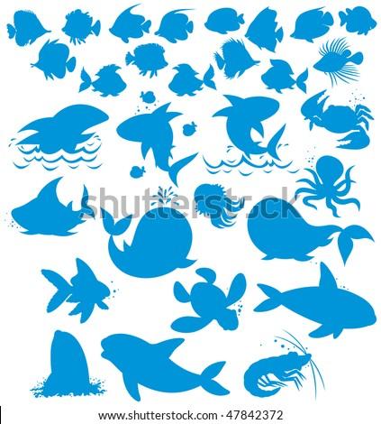 Silhouettes of sea animals - stock vector