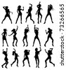 Silhouettes of sexy beautiful women dancing - stock vector