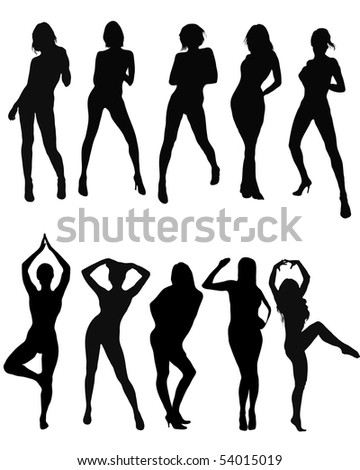 Silhouettes of sexy girls. Vector illustration.
