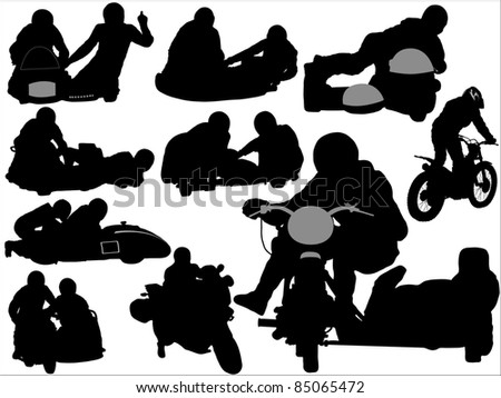 Silhouettes of sidecars and motorcycles - stock vector