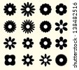 silhouettes of simple vector flowers. set. eps8 - stock vector