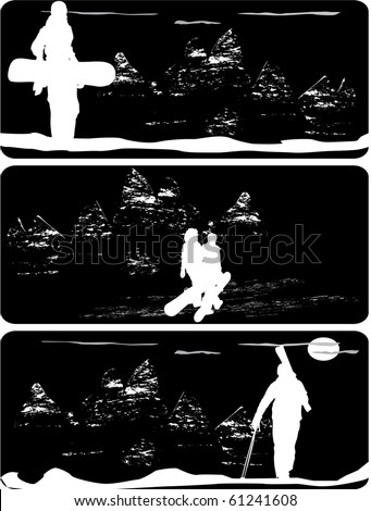 Silhouettes of skiers and snowboarder on the mountain, three different  background