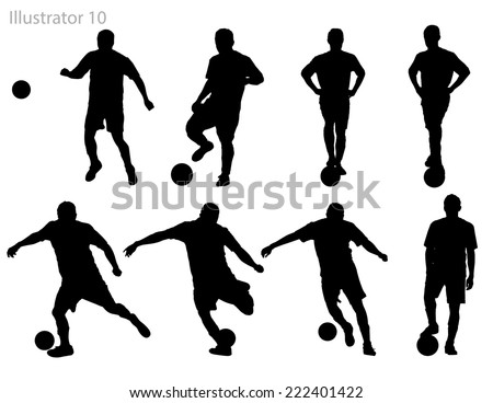 Silhouettes of soccer players. - stock vector
