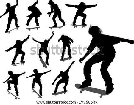 Silhouettes of some skateboarders in different moments