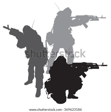 silhouettes of special forces vector set - stock vector