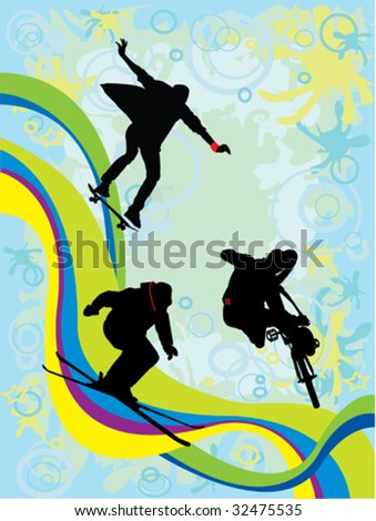Silhouettes of sportsmen over abstract background - stock vector