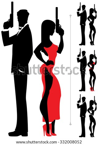 Silhouettes of spy couple over white background. Four versions differing by the outfit of the female. - stock vector