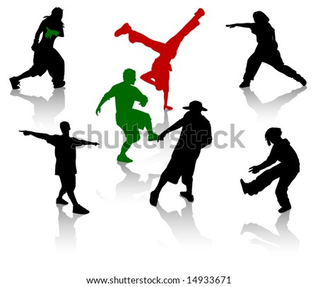 Silhouettes of street-dancers teens. Hiphop and breakdancing. - stock vector