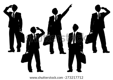 Silhouettes of successful business man purposefully looking away to empty copy space in full length isolated on white background - stock vector