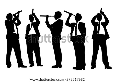 Silhouettes of successful Business man with telescope ( spyglass ) looking forward Prospects for future in full length isolated on white background - stock vector