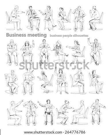 Silhouettes of successful business people working on meeting. Sketch - stock vector