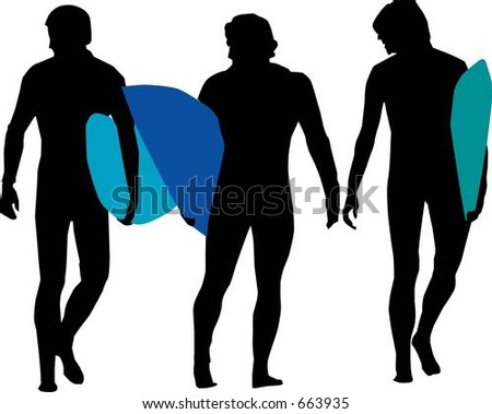 Silhouettes of Surfers - Vector - stock vector