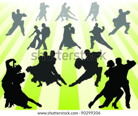 Silhouettes of tango players with a yellow background , vector - stock vector