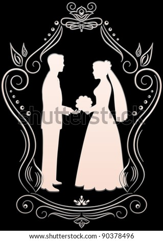 Silhouettes of the bride and groom in a frame on a dark background - stock vector