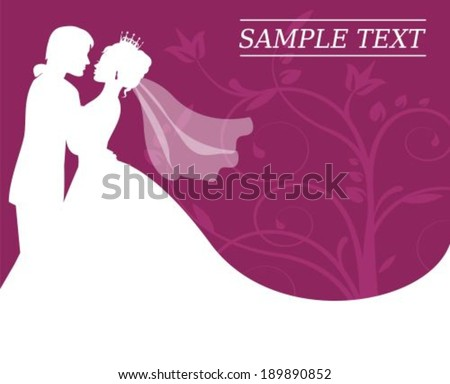 silhouettes of the bride and groom on a burgundy background with swirls  - stock vector