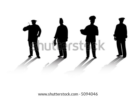Silhouettes of the cooks - stock vector