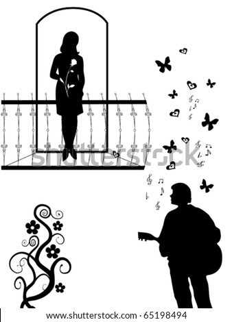 Silhouettes of the girl on a balcony and young men with a guitar, vector
