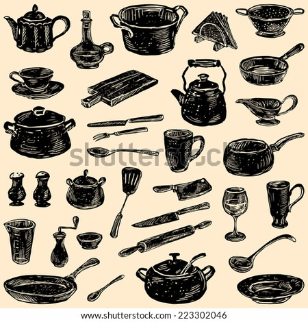 silhouettes of the kitchenware - stock vector