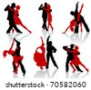 Silhouettes of the pairs dancing ballroom dances. Tango. - stock vector