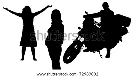 silhouettes of the people - stock vector
