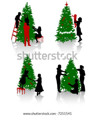 People Decorating A Christmas Tree decorating tree stock photos, royalty-free images & vectors