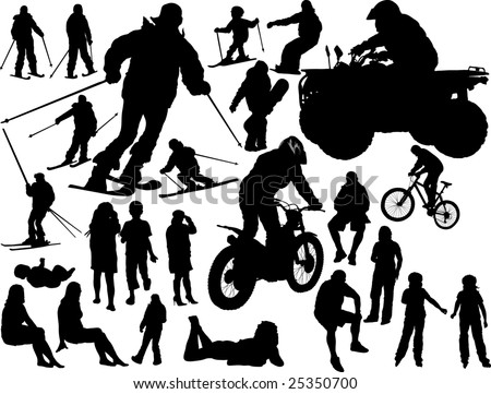 Silhouettes of the people - vector collection - stock vector