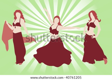 Silhouettes of three belly dancers - stock vector