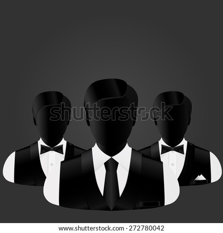 silhouettes of three businessmen, in the forefront of business changes in a tie - stock vector