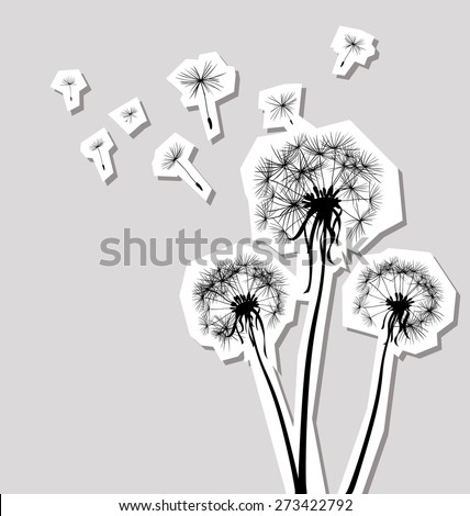 silhouettes of three dandelions in the wind - stock vector