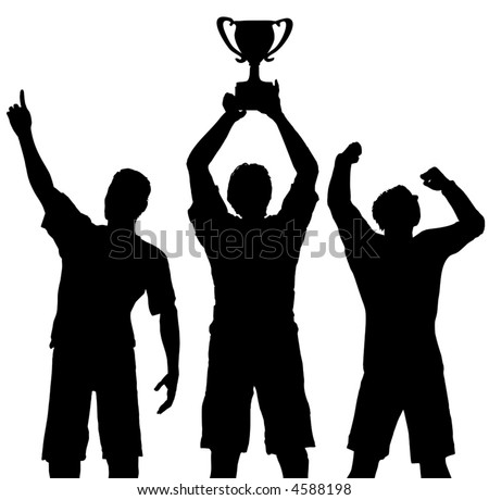 Silhouettes of three team players win a trophy and celebrate a sports or business victory. - stock vector