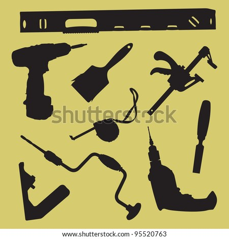 Silhouettes of tools - stock vector
