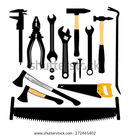 Silhouettes of tools. Vector illustration.