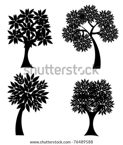 Silhouettes of trees isolated over white. Vector illustration