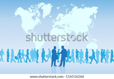 Silhouettes of two businessmen shaking hands securing a deal. - stock vector