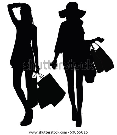 Silhouettes of two girls - stock vector
