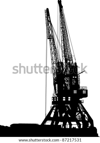 Silhouettes of two port cranes - stock vector