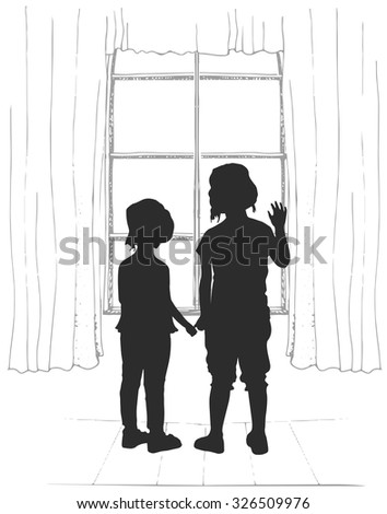 Silhouettes of two young girls, looking at the window - stock vector