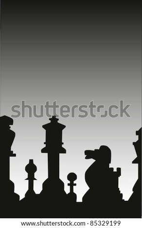 Silhouettes of various chess pieces. - stock vector