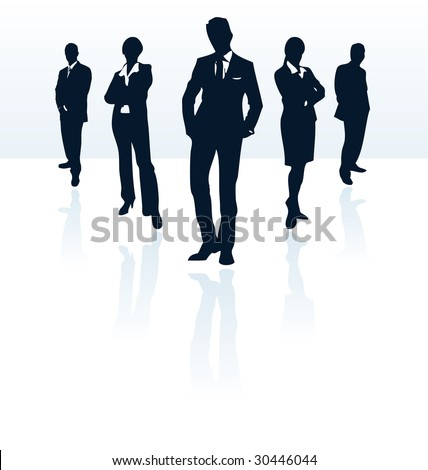 Silhouettes of vector business man and woman. More in my portfolio. - stock vector